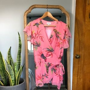 NY&Co Floral Cap Sleeve Wrap Blouse